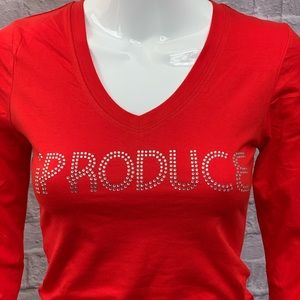 RtSECasting Tops - Red iPRODUCE Rhinestone Long Sleeve